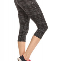 Stylish Space Dye Printed Athletic Capris