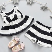 Infant/Toddler Girls Summer Outfits  Dress+Short 2PCS
