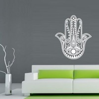 Hamsa Wall Decal Art Decor Decals Sticker India Amulet Protection Yoga Buddhism Mantra (M220)