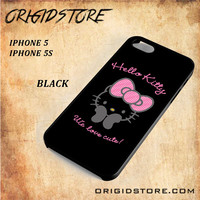 Hello Kitty Snap on 2D Black and White Or 3D Suitable With Image For Iphone  5/5S Case