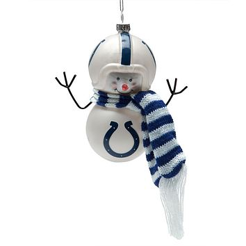 Indianapolis Colts - Blown Glass Snowman Ornament