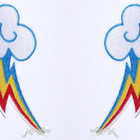 My Little Pony Rainbow Dash Cutie Mark Iron On Embroidery Patch MTCoffinz - Mirror Pair