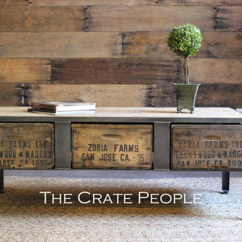 3 Zoria Crate Drawer Coffee Table w/Metal Plates | Vintage Wood Crates & Reclaimed Barn Wood | Custom Furniture