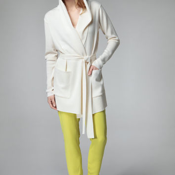 Women's cardigan / hoodie with patch pockets and belt - straight wrap open front - merino or linen viscose blend // 1401-11