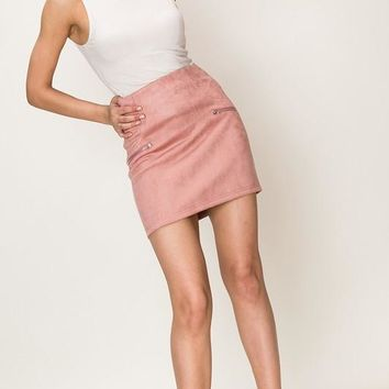 Suedette Mini Pencil Skirt