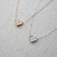 Tiny heart necklace, Heart CZ necklace, Cubic zirconia heart necklace, Bridesmaid gift, Graduation gift, Simple everyday jewelry