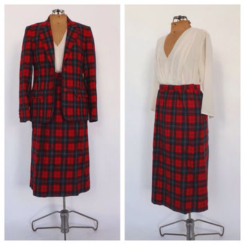 Vintage 1960s 70s Pendleton Two Piece Red Plaid Suit Wool Blazer 60s Fall Jacket Skirt Set Mod Ladies Fall Lennox Tartan Suit Size Medium