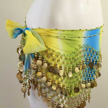Sheer - Tie Dye - Blue Green & Yellow - Crochet Knit - Gold Coin - Belly Dancer - Sarong - Wrap Skirt - Hippie
