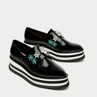 PLATFORM DERBY SHOES WITH BEADING