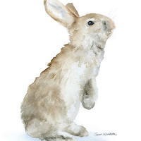 Bunny Watercolor Painting Giclee Print 5 x 7