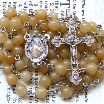 Sacred Heart Rosary - Catholic Rosary, Jesus, Cream Quartz, Tan