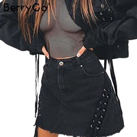Punk Goth Lace Up Denim Sexy Tassel Fringe Elegant High Waist Skirt
