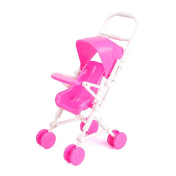 New Pink Assembly Baby Stroller Trolley Nursery Furniture Toys for Barbie Doll #68455
