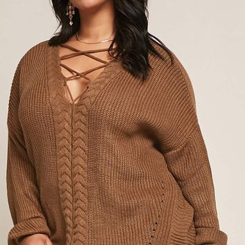 Plus Size Caged V-Neck Sweater
