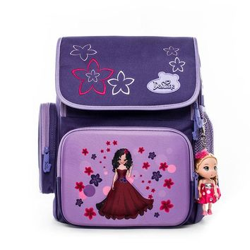 School Backpack Delune sweet princess cartoon School Bag flower little girls  soft light orthopedic purple Backpack For children AT_48_3