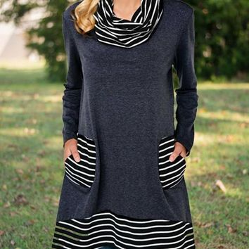 New Blue Striped Pockets High Neck Long Sleeve Casual Countryside Mini Dress