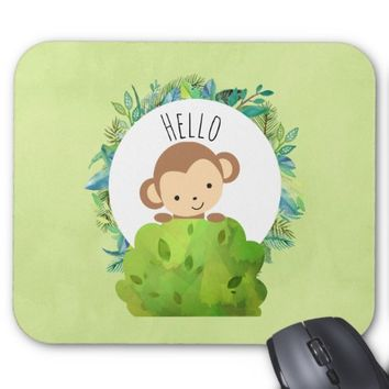 Cute Monkey Peeking Out from Behind a Bush Hello Mouse Pad