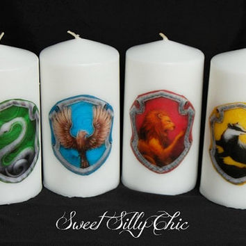 Set of Four Hogwarts House Crest Candles, Slytherin Gryffindor Ravenclaw Hufflepuff Candle, Harry Potter Home Decor Gift