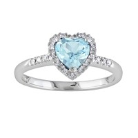 10k White Gold 1/10-ct. T.W. Diamond & Blue Topaz Heart Frame Ring