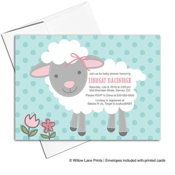Baby girl baby shower invites | little lamb baby shower invitation for girls pink gray teal | printable or printed - WLP00714
