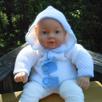 Baby Boy Jacket Hoodie, Infant Jacket, 3-6 months, White and Blue, Baby Shower Gift, Baby Clothes