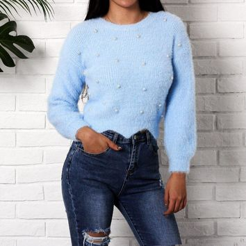 Pearl Knitted O Neck Sweater Women Mohair Harajuku Long Sleeve Knitwear Sweater Slim Pullover Femme Sueter Mujer