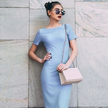Jacquard Elegant Dress Blue Bodycon Short Sleeve Summer Women Knee Length Dress Robe 2017 O-Neck Fitness Long Dresses