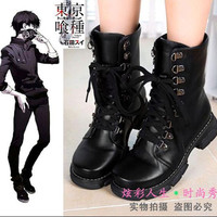Latest Anime Tokyo Ghouls Cosplay Boots Round Head Black Uniform Shoes Combat Boots Use High Quality Leather Fashionable Joker