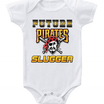 New Cute Funny Baby One Piece Bodysuit Baseball Future Slugger MLB Pittsburgh Pirates #5
