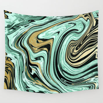 MARBELLOUS IN MINT AND GOLD Wall Tapestry by Nika