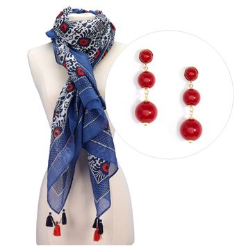 Print Scarf and Ball Drop Earrings Gift Set Red