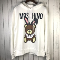Moschion New fashion bust rabbit print couple hooded thick long sleeve sweater White