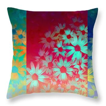 "abstract - flowers- Summer Joy Throw Pillow for Sale by Ann Powell - 14"" x 14"""