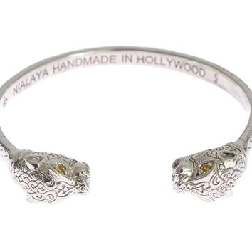 Panther 925 Silver Crystal Bangle Bracelet