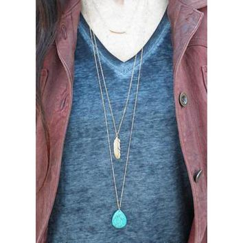 Etsy Style Turquoise And Feather Simple Layered Long Necklace