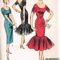 1950s Advance 7942 Vintage Sewing Pattern Evening Cocktail Party Dress MERMAID Flounce Designer Suzy Perette Bust 30