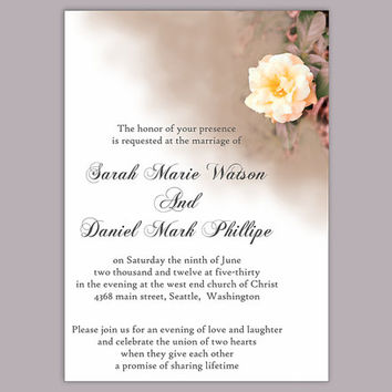 DIY Wedding Invitation Template Editable Word File Instant Download Printable Floral Invitation Rose Wedding Invitation Peach Invitation