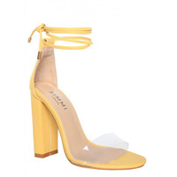 Harley Yellow Transparent Lace Up Block Heels : Simmi Shoes