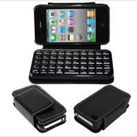 Fashion Black Sliding Bluetooth Wireless Keyboard Cover Case Wallet for Iphone4/4s