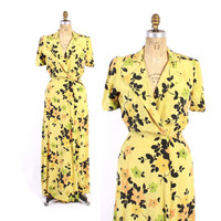 Vintage 40s DRESSING GOWN / 1940s Bright Golden Yellow Floral Print Rayon Hostess Dress Robe