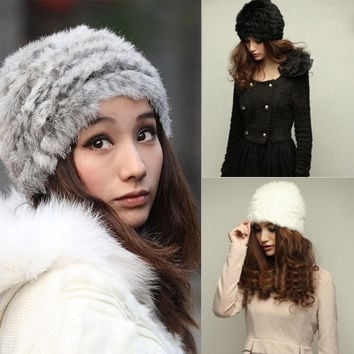 New Style Womens Ladies Nice Winter Warm Fashion Faux Rabbit Fur Knitted Hat Cap = 1931676612
