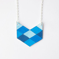 Geometric Chevron Necklace - Blue - Made to Order