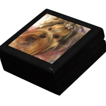 Keepsake/Jewelry Box - Yorkshire Terrier with Bow - Black Lacquer Box