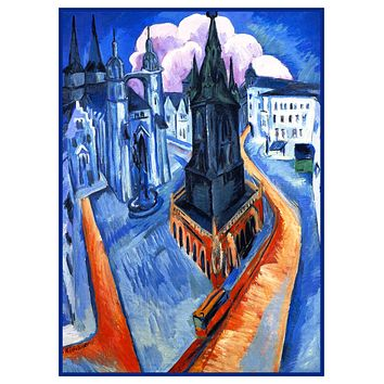 Landscape of The Red Tower in Halle Germany by Ernst Ludwig Kirchner Counted Cross Stitch Pattern