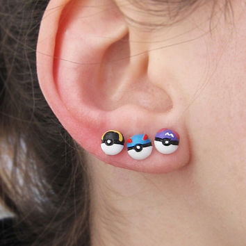 Pokemon Pokeball Great Master Ultra Ball Earrings - Nickel Free Earring Studs Pokeballs Fanart Cosplay Videogame Anime - ポケモン Nintendo Geek
