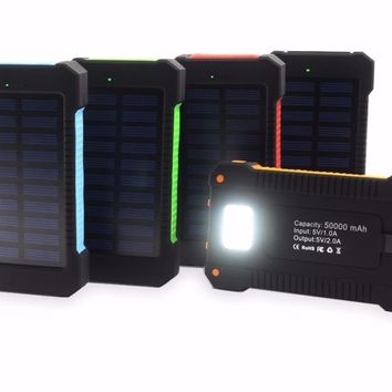 Waterproof Dual USB Solar Charger with LED Light and FREE Compass Clip!
