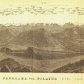 1899 Mount Pilatus Panorama, Switzerland, Antique Drawing, Baedeker