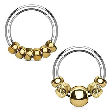 BodyJ4You 2PCS 16G (1.2mm) Nose Hoop Seamless Hinged Segment Ring Goldtone Beads Surgical Steel Septum