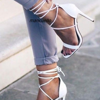 Women White PU Leather Open Toe Thin Heel Sandals Concise Design Ankle Lace Up Stiletto Heel Dress Sandals Classy Shoes Hot Sell