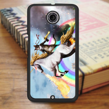 Cat Riding Unicorn Nexus 6 Case